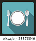 Plate with spoon and fork icon, flat style 26576649