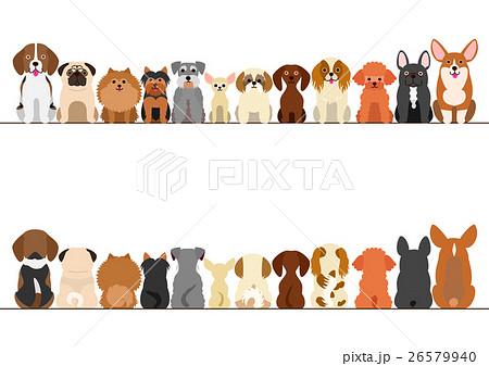 小型犬のボーダーのセット 正面と後ろ姿のイラスト素材 26579940 Pixta