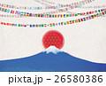 富士山と世界の国旗ガーランド 26580386