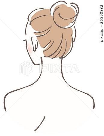 女性 後ろ姿 お団子ヘアのイラスト素材 26590832 Pixta