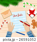Child Hand with pen Writing letter to santa claus. 26591052