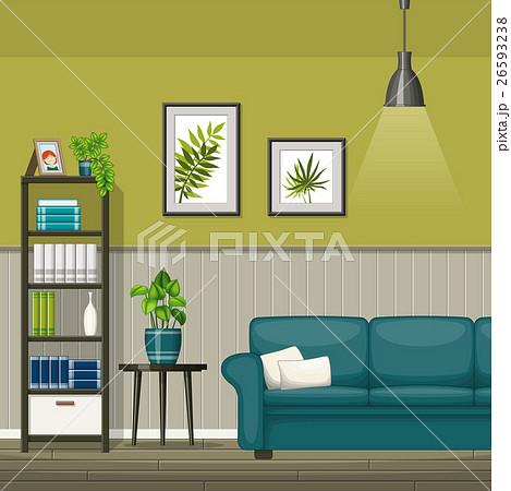 Illustration of interior of a modern living roomのイラスト素材 [26593238] - PIXTA