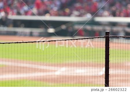 広島東洋カープ本拠地、マツダスタジアム 防球ネット越しに眺めるホームベース付近 26602322
