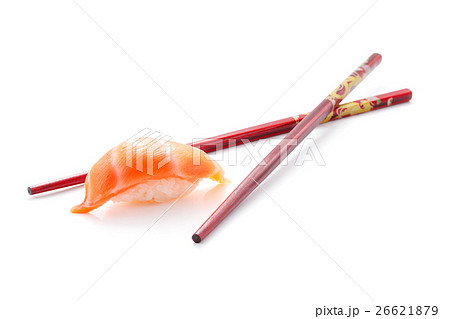 Salmon sushi nigiri with red chopsticks isolatedの写真素材 [26621879] - PIXTA