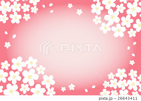 桜フレーム(ピンク背景) 26643411
