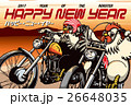 年賀状 オートバイ 鶏のイラスト 26648035