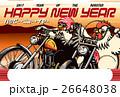年賀状 オートバイ 鶏のイラスト 26648038