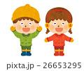 冬の男の子と女の子01(人物のみ) 26653295