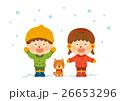 冬の男の子と女の子02(背景と犬付き) 26653296