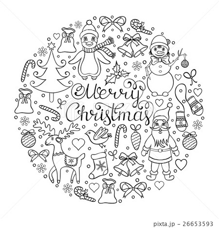 hand drawn christmas patternのイラスト素材 [26653593] - PIXTA