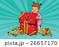 Pop art girl opens the gift box 26657170