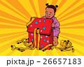 Pop art girl opens the gift box 26657183