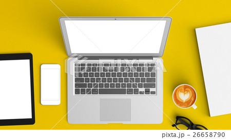 computer labtop mockup top view on the deskの写真素材 [26658790] - PIXTA