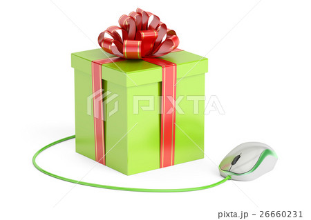 Online shopping concept, gift box with computerのイラスト素材 [26660231] - PIXTA