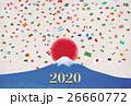 富士山と世界の国旗の紙吹雪 26660772
