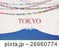 富士山と世界の国旗ガーランド 26660774