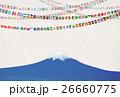 富士山と世界の国旗ガーランド 26660775