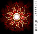 Round banner with abstract flower 26663242