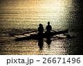 湖 日没 夕日の写真 26671496