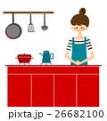 キッチンで料理をする女性 26682100