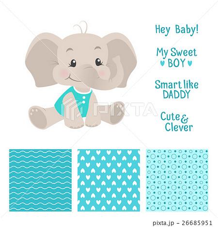 Baby boy elephant design with seamless patternsのイラスト素材 [26685951] - PIXTA