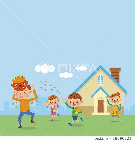 節分イメージ/豆まきをする家族 26696222