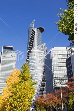 名古屋都市風景 名駅通り スパイラルタワーとミッドランドスクエアと銀杏 26696951