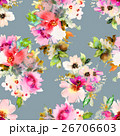 Seamless pattern with flowers watercolor 26706603