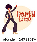 Man in afro wig and 1970s style clothes dancing 26713050