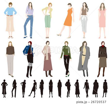 女性のファッションのイラスト素材 26720537 Pixta