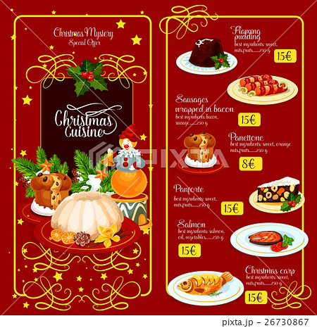 christmas menu template for restaurant designのイラスト素材