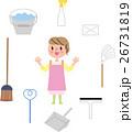 大掃除 掃除用具 女性 笑顔 26731819