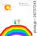 Bright background with happy children on rainbow 26737243