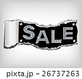 Shiny sale tag on fragmentary paper. Vector 26737263