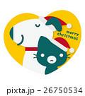 犬 猫 クリスマスのイラスト 26750534