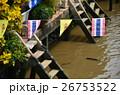 タイ バンコクのアムパワー水上マーケット 運河とタイ国旗 26753522