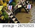 タイ バンコクのアムパワー水上マーケット 運河とタイ国旗 26753525