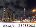 ハートマークが浮かぶダイヤモンドヴェール 【クリスマスツリー】の東京タワーと自動車の光跡_b 26755088