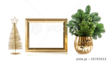 Golden picture frame decoration christmas treeの写真素材 [26765633] - PIXTA