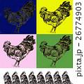 酉 酉年 とり 鶏 ニワトリ にわとり  デッサン スケッチ 手描き 干支 2017 平成29年 26774903