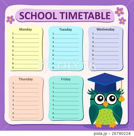Weekly school timetable subject 4のイラスト素材 [26780228] - PIXTA