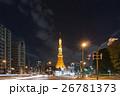 大展望台にハートマークが浮かぶ東京タワーと自動車の光跡_a 26781373