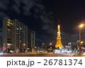 大展望台にハートマークが浮かぶ東京タワーと自動車の光跡_b 26781374