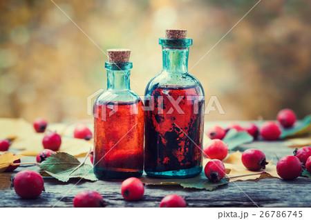 Tincture bottles of hawthorn berries  26786745