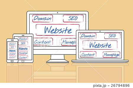 website template content homepage domain seo words conceptのイラスト