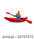 カヤック カヌー 女性のイラスト 26797373