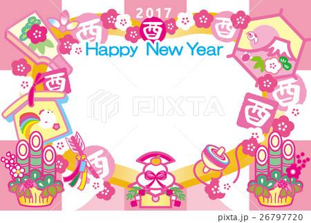 フォトフレーム年賀状2017とり年 酉印 鏡餅 羽子板 門松 富士山 HappyNewYearピンク 26797720