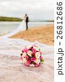 Bridal bouquet on a long bridal veil 26812686