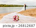 Bridal bouquet on a long bridal veil 26812687