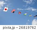 運動会の万国旗と青空 26819762